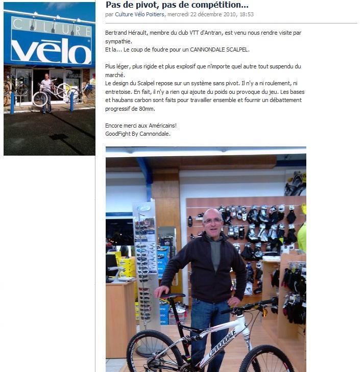 Mercredi 22 décembre 2010 - Culture Vélo poitiers - Bertrand et son  Cannondale Scalpel 9ca62b292d35